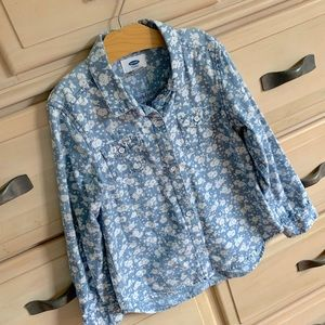 Girls floral chambray button down S/6-7